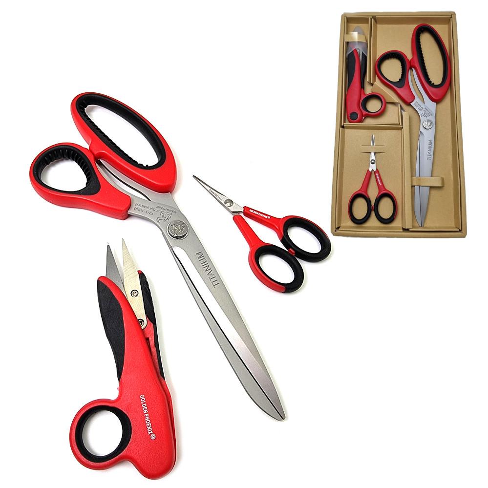 Ножницы портновские Golden Phoenix для кройки и шитья Набор закройных ножниц TITANIUM