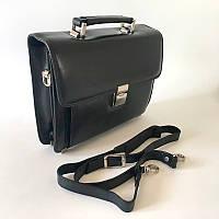 Шкіряна барсетка через плече для документів портфель чоловіча сумка чорна велика Desisan з кодовим замком, фото 1