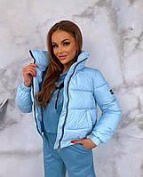 Женская утепленная плащевая куртка голубая, фото 1