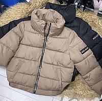 Женская утепленная плащевая куртка кофе с молоком, фото 1