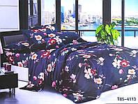 Комплект постельного белья бязь Цветы на темно-синем фоне размер полуторный
