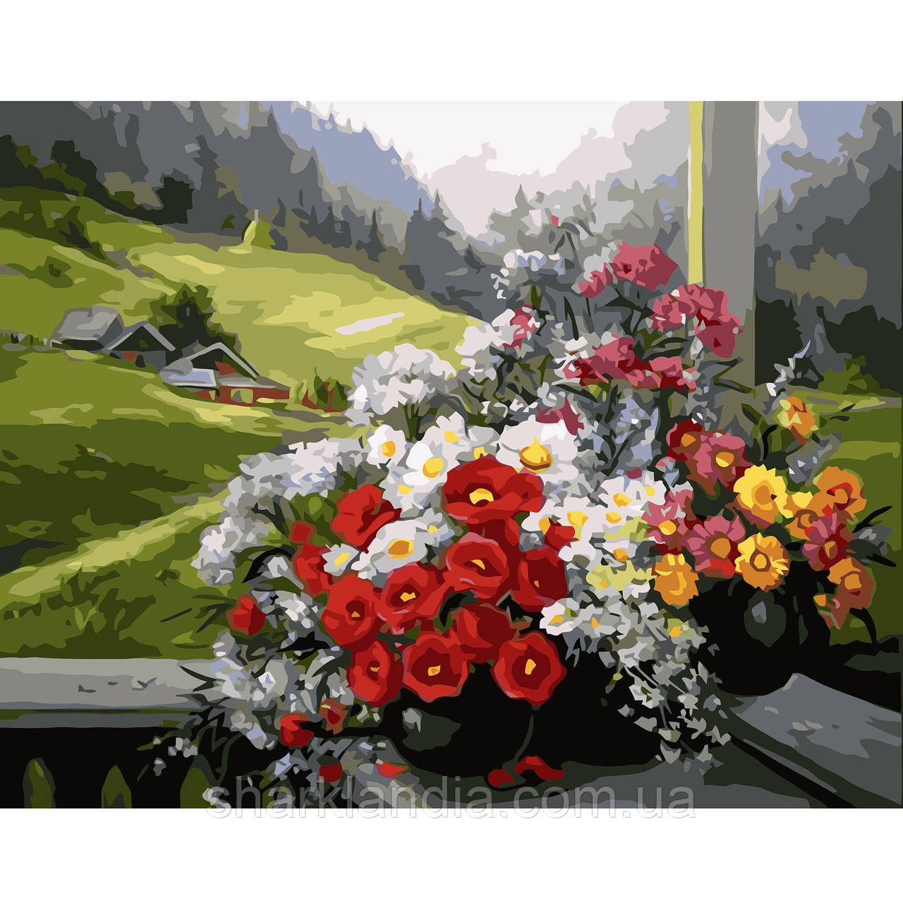 Картина за номерами Букет квітів на тлі галявини 40х50см Strateg Розфарбовування по цифрам