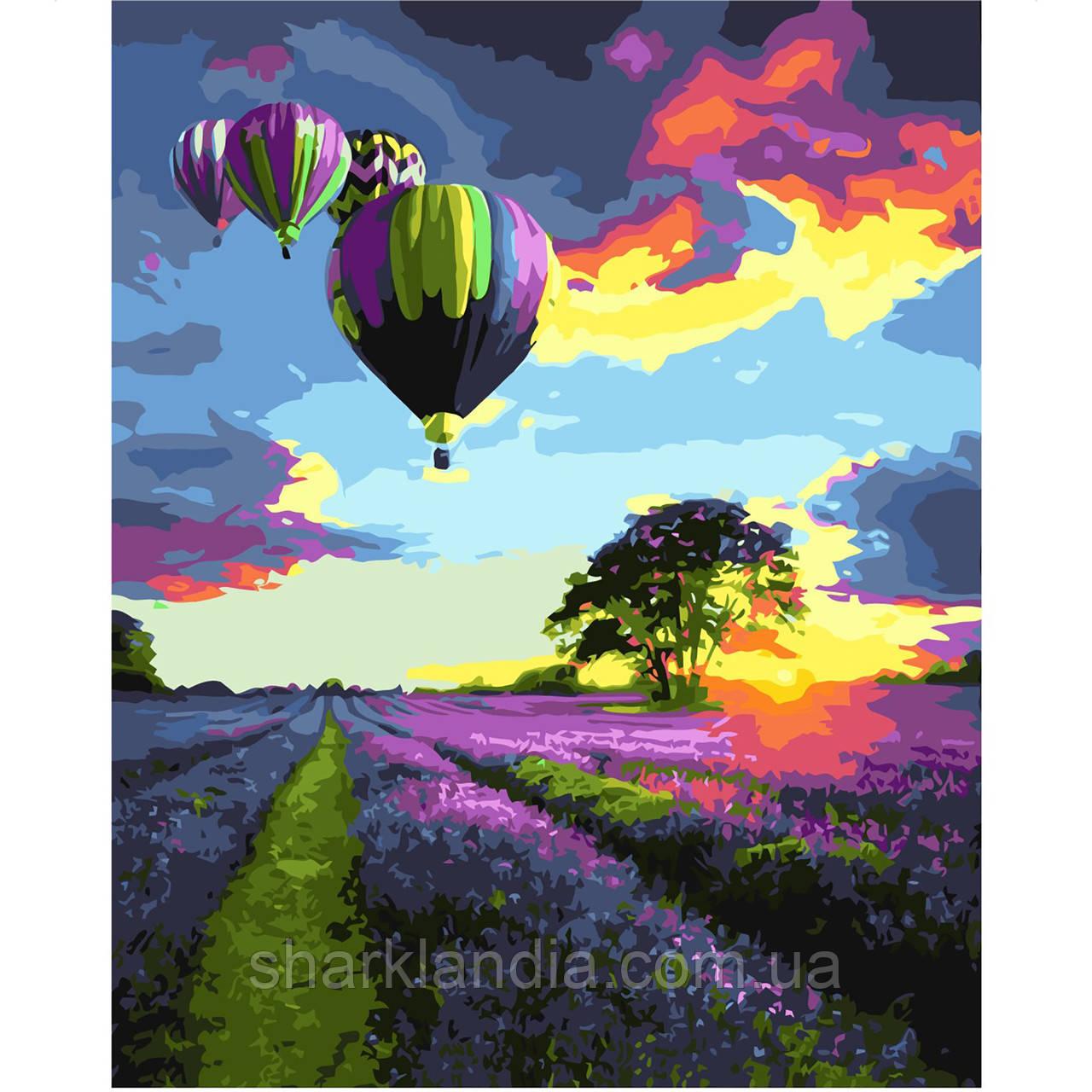 Картина по номерам Воздушные шары над лавандовым полем 40х50см Strateg Раскраска по цифрам