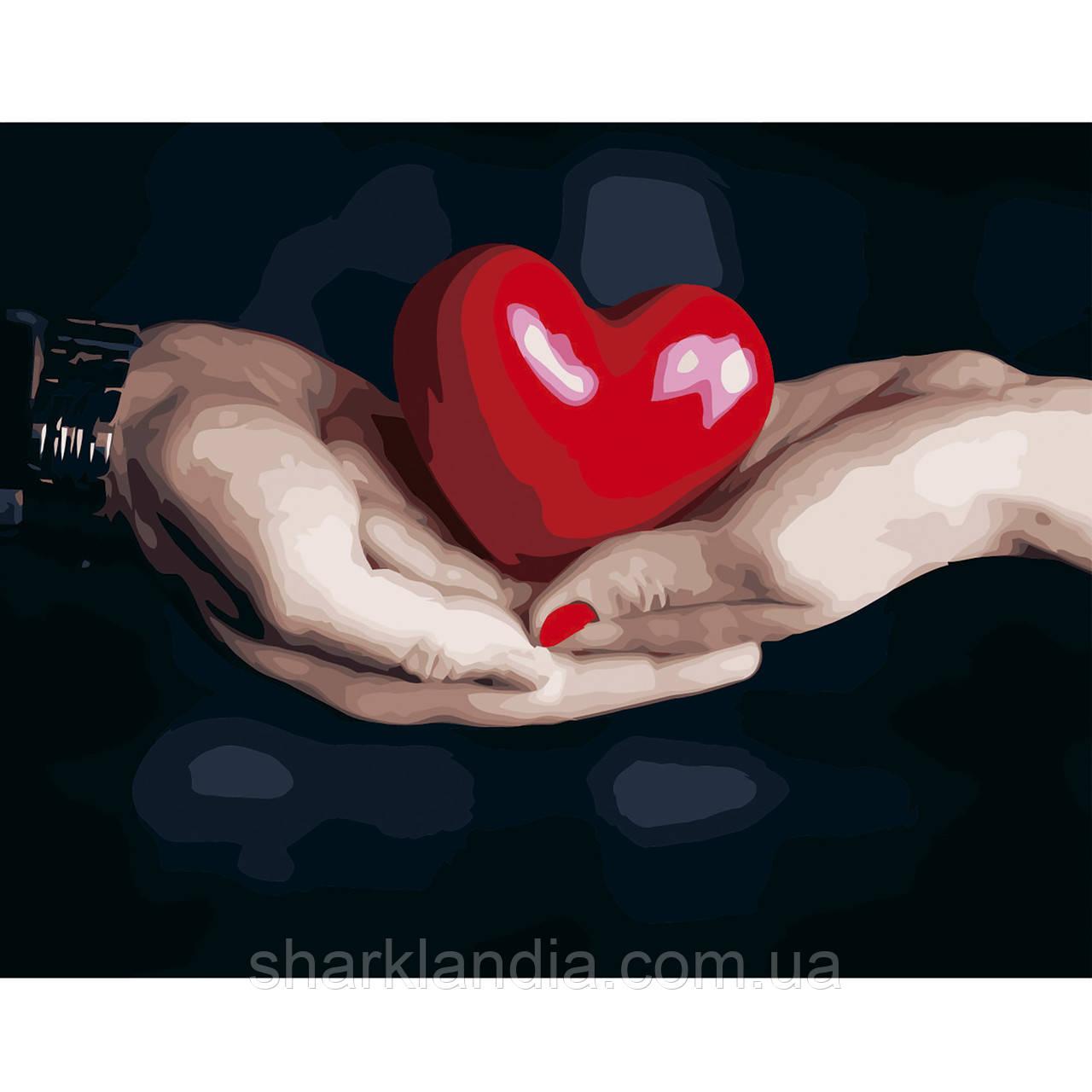 Картина по номерам Сердце в лодошках 40х50см Strateg