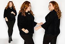 Пальто-пиджак из меха альпаки в руниверсальном размере 46-52. черный