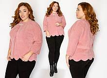 Пальто-пиджак из меха альпаки в руниверсальном размере 46-52. розовый