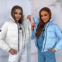 Женская утепленная плащевая куртка белая, фото 1