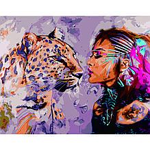 Картина по Номерам Девушка с ягуаром 40х50см Strateg