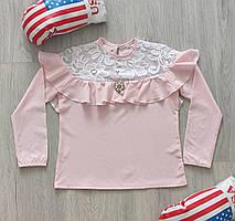 Шкільна блузка для дівчинки з мереживом зріст 128-146 см