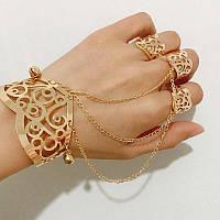 Ажурный слейв браслет на руку Золото через кольца №11