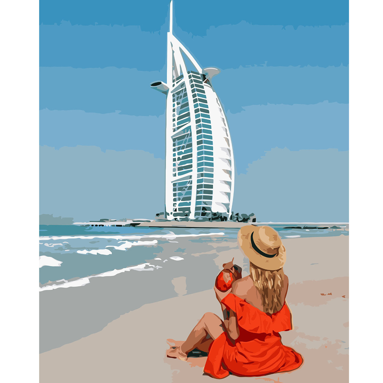 Картина по Номерам Девушка в Дубае 40х50см Strateg