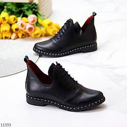 Молодежные кожаные черные женские туфли натуральная кожа на шнуровке