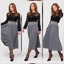 Спідниця-плісе міді жіноча в'яза модна з поясом гумка універсал 42 - 50, купити оптом зі складу 7 км Одеса
