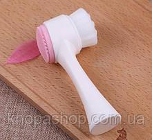 Двостороння силіконова очищаюча щітка для особи (рожева) Zoreya