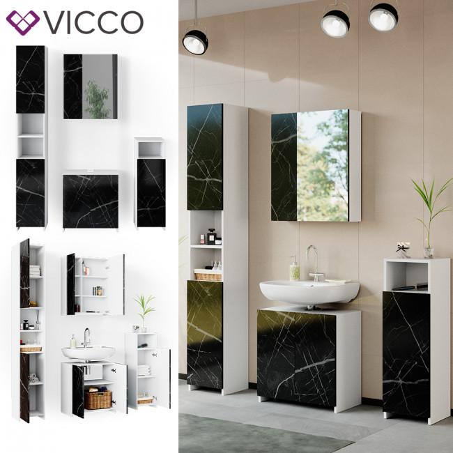 Набір для ванної кімнати 4 предмети Vicco Nero, білий, мармуровий