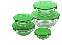 Набір скляних харчових судочків UNIQUE UN-1501 від 9 до 17см з пластиковими кришками 5 шт Зелений, фото 1