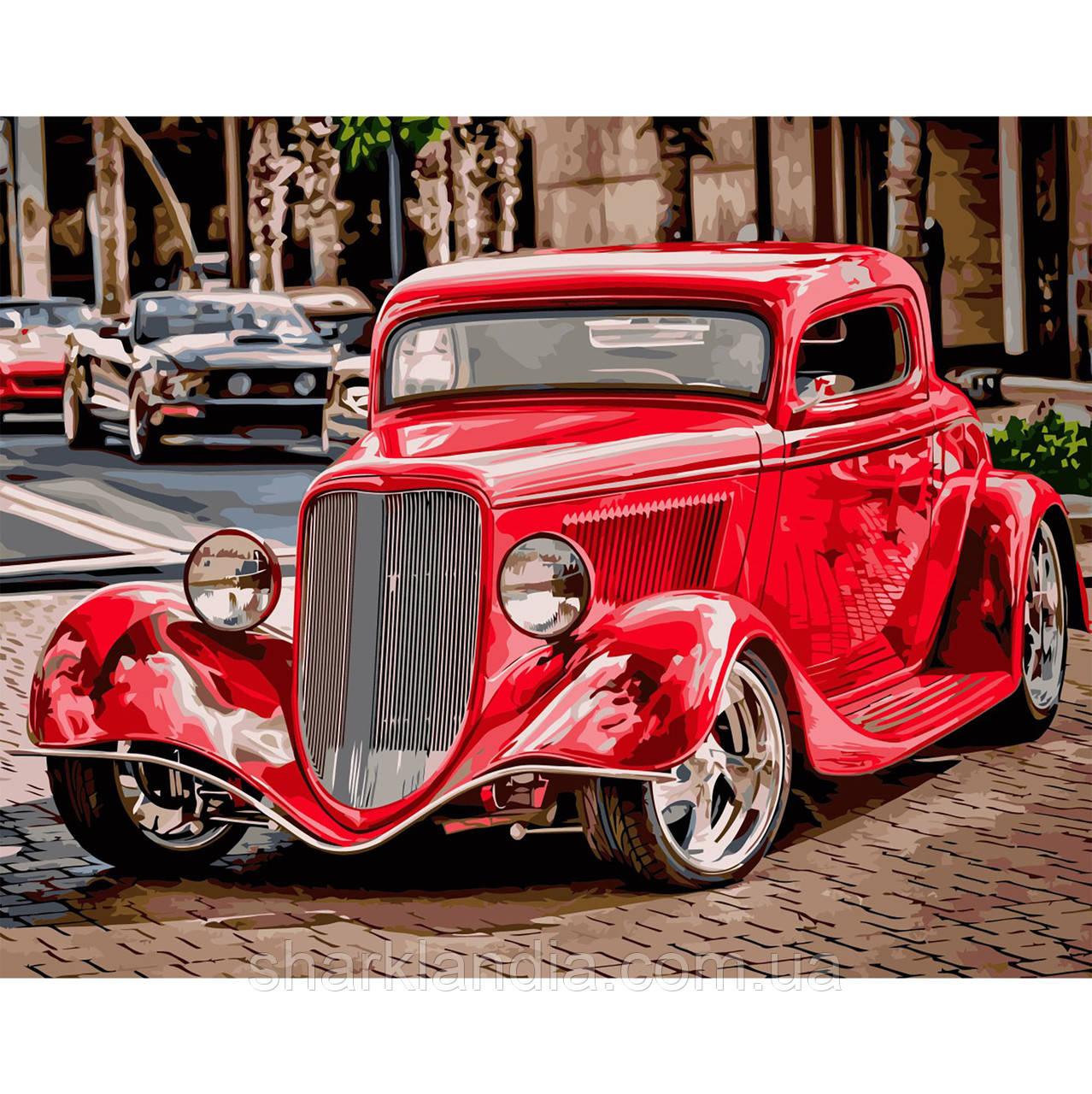 Картина по номерам Красный ретро автомобиль 40х50см Strateg Раскраска по цифрам