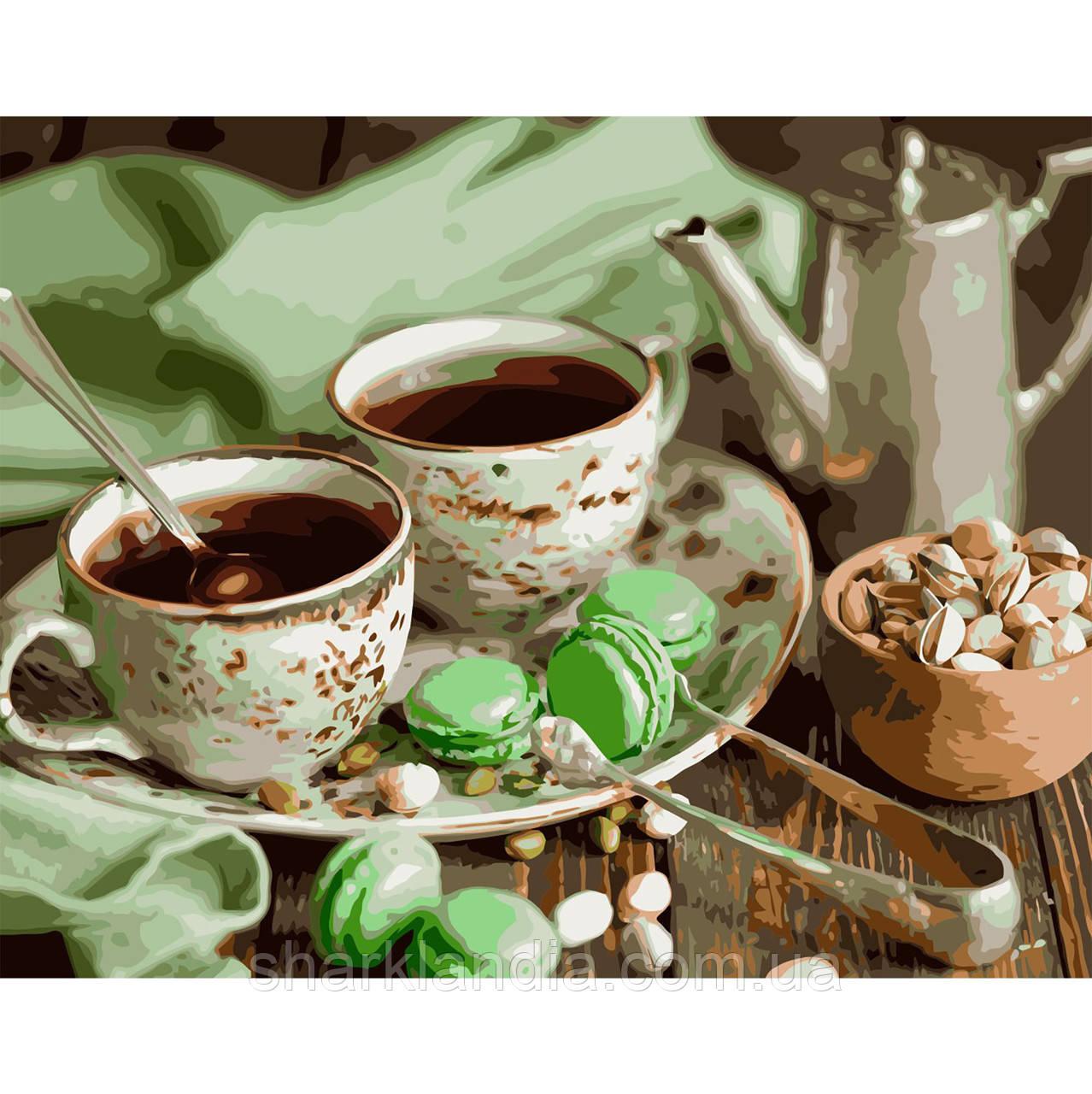 Картина по номерам Кофе на двоих с макарунами 40х50см Strateg