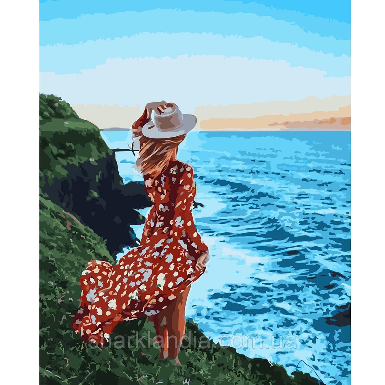 Картина за номерами Дівчина біля океану 40х50см Strateg Розфарбовування по цифрам