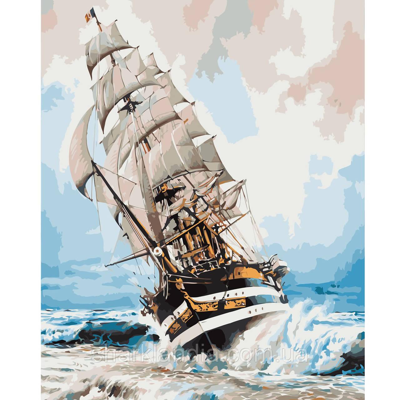 Картина за номерами Корабель на хвилях 40х50см Strateg