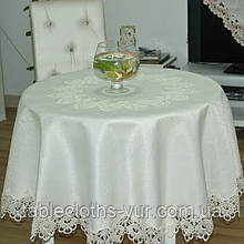 """Скатертина на круглий стіл Атласна з мереживом 150 - 150 Шампань """"Естетика"""" Кругла"""