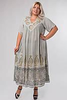 Платье светло-серое с рисунком ручной работы с рукавом, на 54-66 размеры, фото 1