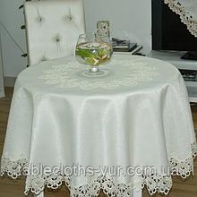 """Скатертина на круглий стіл Атласна з мереживом 150 - 150 Бежева з коричневим """"Естетика"""" Кругла"""