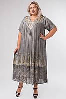 Платье серое с рисунком ручной работы с рукавом, на 54-66 размеры