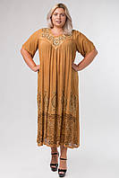 Платье горчичное с рисунком ручной работы с рукавом, на 54-66 размеры