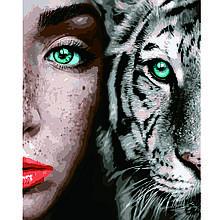Картина по Номерам Девушка с белым тигром 40х50см Strateg