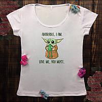 Женская футболка с принтом - Малыш Йода с лягушкой