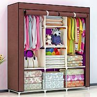 Мобильный тканевый шкаф 3 секции HCX Storage Wardrobe, Раскладной шкаф органайзер AM-88130 Кофейный