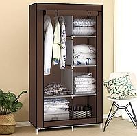 Мобильный тканевый складной шкаф органайзер для одежды STORAGE WARDROBE АМ-88105 Коричневый