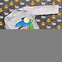 Детский бодик с принтом - Бычок с ёлкой, фото 1