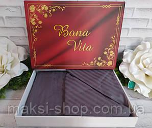 Двуспальный комплект постельного белья страйп-сатин Bona Vita в подарочной коробке T-0266