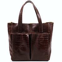 Женская кожаная сумка. Модель 02 темно-коричневый кайман