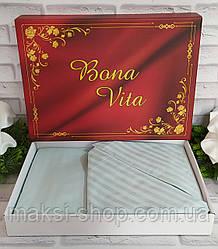 Двуспальный комплект постельного белья страйп-сатин Bona Vita в подарочной коробке T-0267
