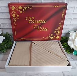 Двуспальный комплект постельного белья страйп-сатин Bona Vita в подарочной коробке T-0268
