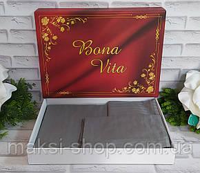 Двуспальный комплект постельного белья страйп-сатин Bona Vita в подарочной коробке T-0269