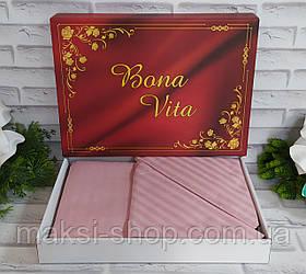 Двуспальный комплект постельного белья страйп-сатин Bona Vita в подарочной коробке T-0270