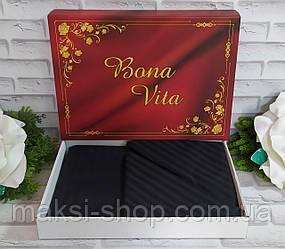 Двуспальный комплект постельного белья страйп-сатин Bona Vita в подарочной коробке T-0271