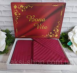 Двуспальный комплект постельного белья страйп-сатин Bona Vita в подарочной коробке T-0272