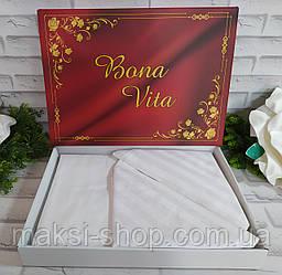 Двуспальный комплект постельного белья страйп-сатин Bona Vita в подарочной коробке T-0273