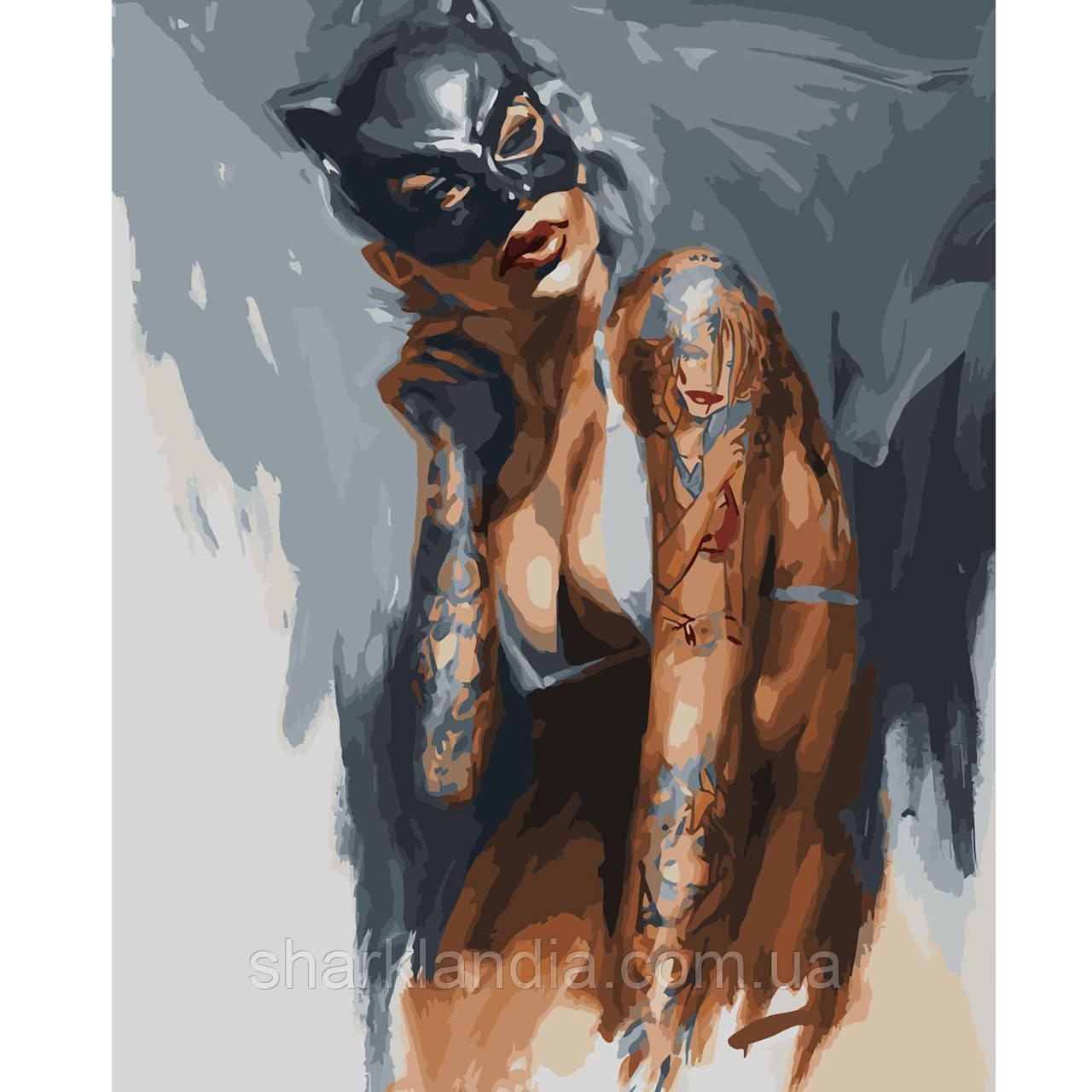 Картина за номерами Жінка-кішка 40х50см Strateg