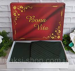 Двуспальный комплект постельного белья страйп-сатин Bona Vita в подарочной коробке T-0274