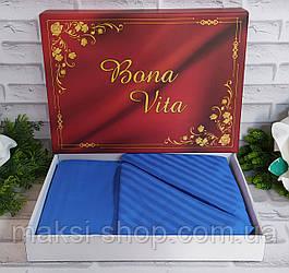 Двуспальный комплект постельного белья страйп-сатин Bona Vita в подарочной коробке T-0275