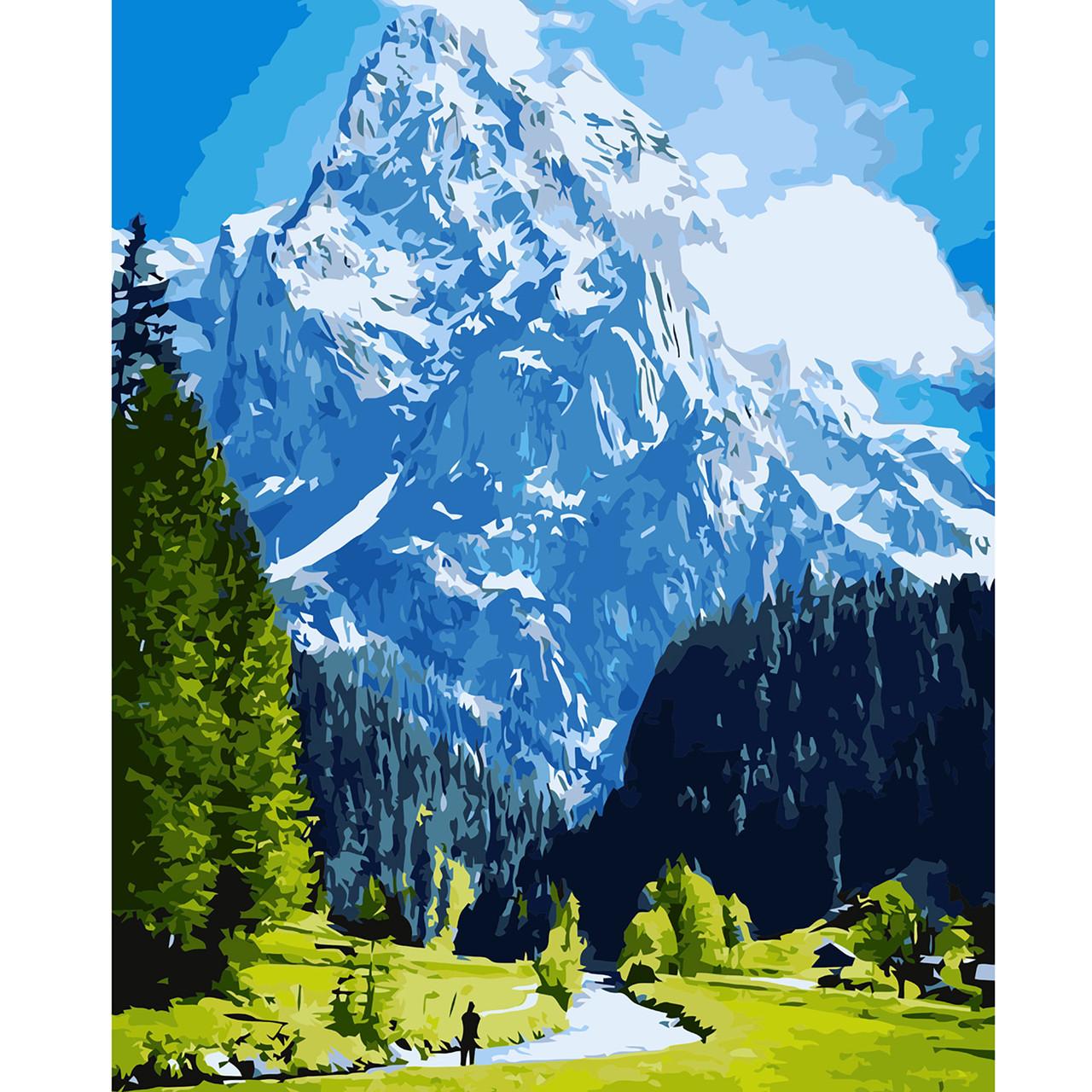 Картина за Номерами Блакитні гори і зелене поле 40х50см Starteg в коробці