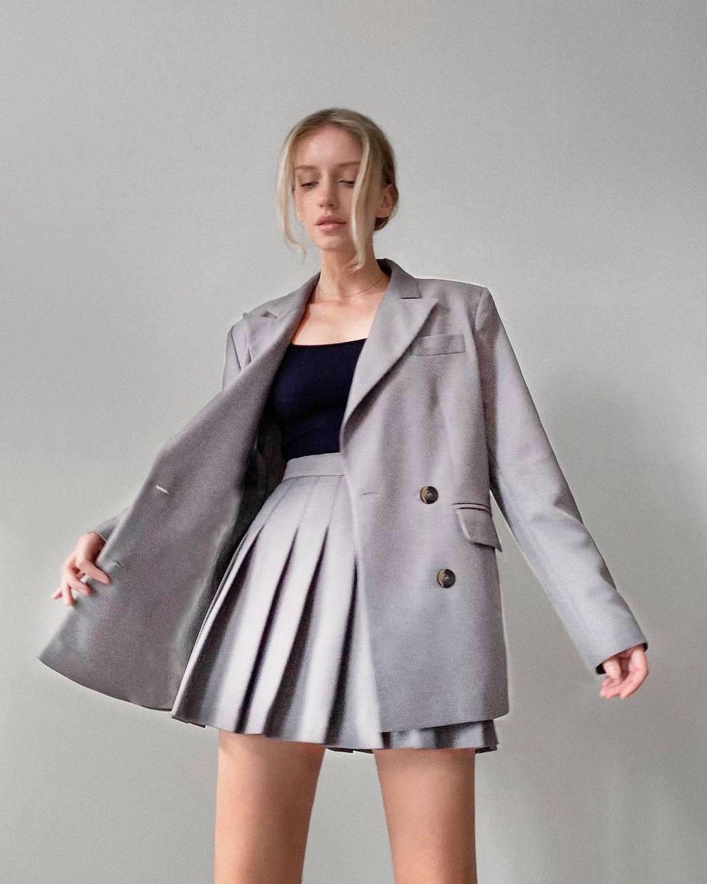 Костюм женский осенний пиджак и юбка Оригинал (разные цвета)