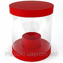 Подарочная коробка цветочная круглая с прозрачными стенками (25,5*22*22 см)