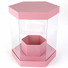 Подарочная коробка цветочная шестигранная с прозрачными стенками (25,5*24*24 см)